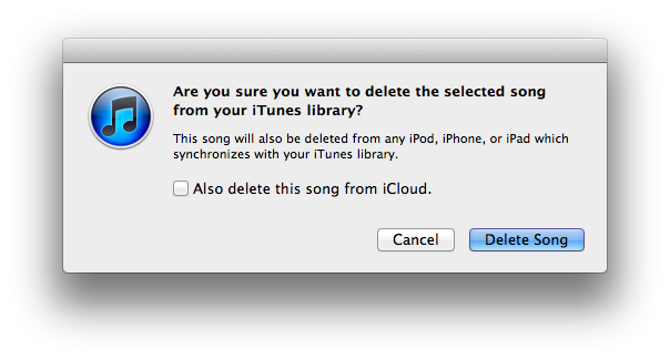 Delete Song in iTunes Match