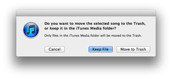 iTunes Match Keep File or Move to Trash
